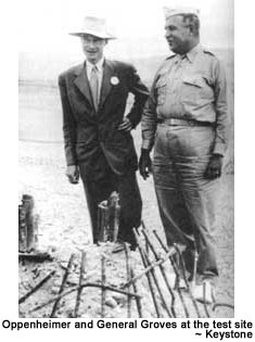Oppenheimer and General Groves at the test site