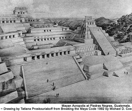 Mayan Acropolis at Piedras Negras, Guatemala.